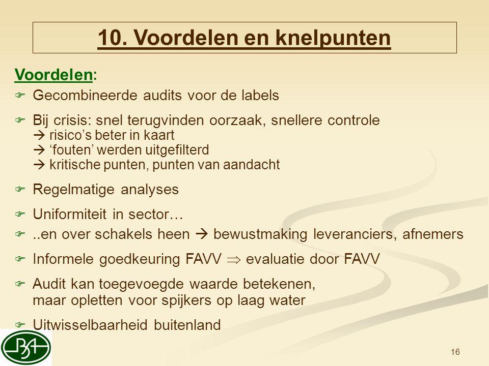 10. Voordelen en knelpunten