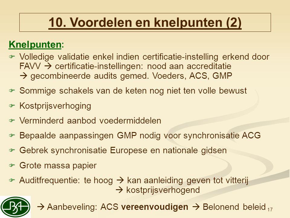 10. Voordelen en knelpunten (2)