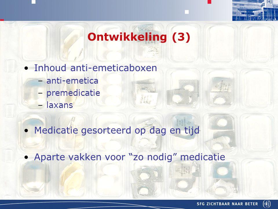 Ontwikkeling (3) Inhoud anti-emeticaboxen
