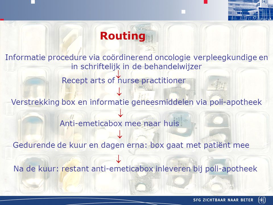 Routing Informatie procedure via coördinerend oncologie verpleegkundige en in schriftelijk in de behandelwijzer.