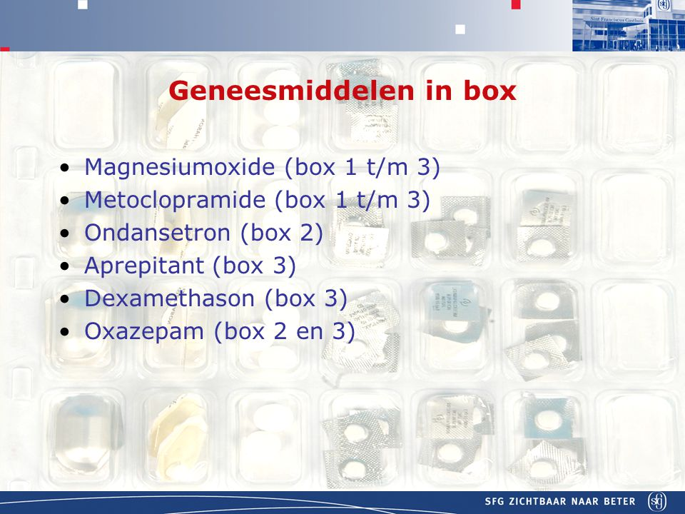 Geneesmiddelen in box Magnesiumoxide (box 1 t/m 3)