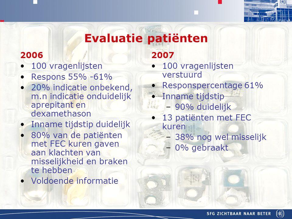 Evaluatie patiënten 2006 100 vragenlijsten Respons 55% -61%
