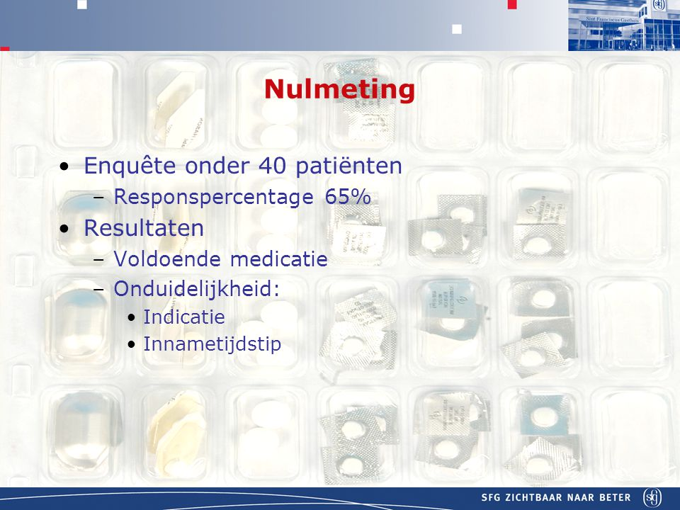 Nulmeting Enquête onder 40 patiënten Resultaten Responspercentage 65%