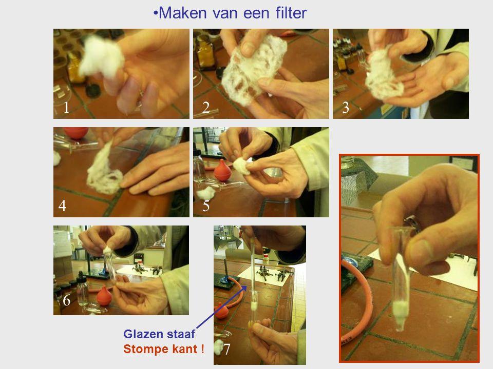 Maken van een filter 1 2 3 4 5 6 7 Glazen staaf Stompe kant !