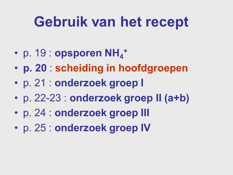 Gebruik van het recept p. 19 : opsporen NH4+