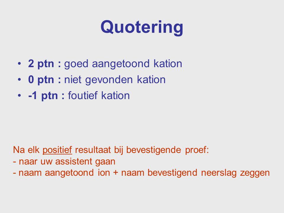 Quotering 2 ptn : goed aangetoond kation 0 ptn : niet gevonden kation