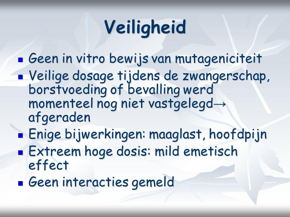 Veiligheid Geen in vitro bewijs van mutageniciteit