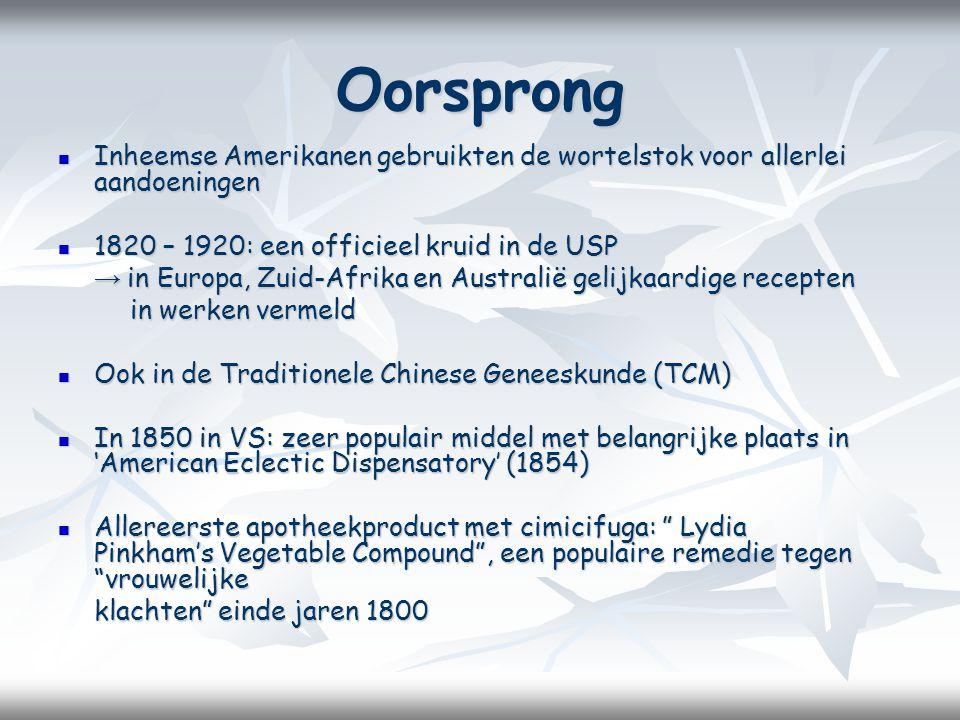 Oorsprong Inheemse Amerikanen gebruikten de wortelstok voor allerlei aandoeningen. 1820 – 1920: een officieel kruid in de USP.