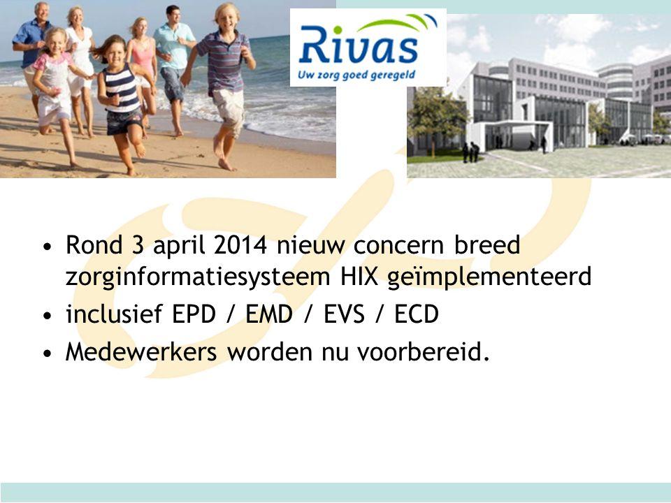 Rond 3 april 2014 nieuw concern breed zorginformatiesysteem HIX geïmplementeerd