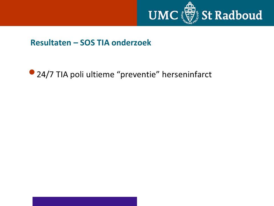 Resultaten – SOS TIA onderzoek