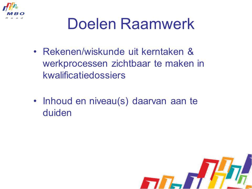 Doelen Raamwerk Rekenen/wiskunde uit kerntaken & werkprocessen zichtbaar te maken in kwalificatiedossiers.