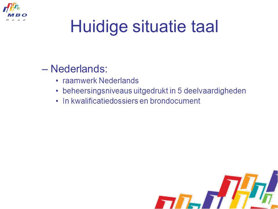 Huidige situatie taal Nederlands: raamwerk Nederlands