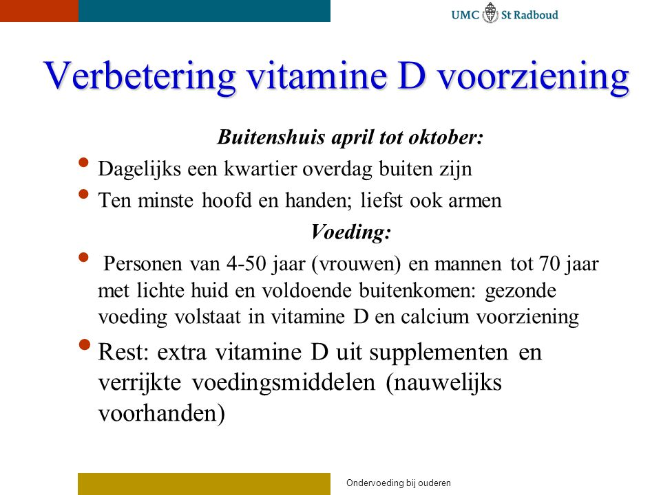 Verbetering vitamine D voorziening