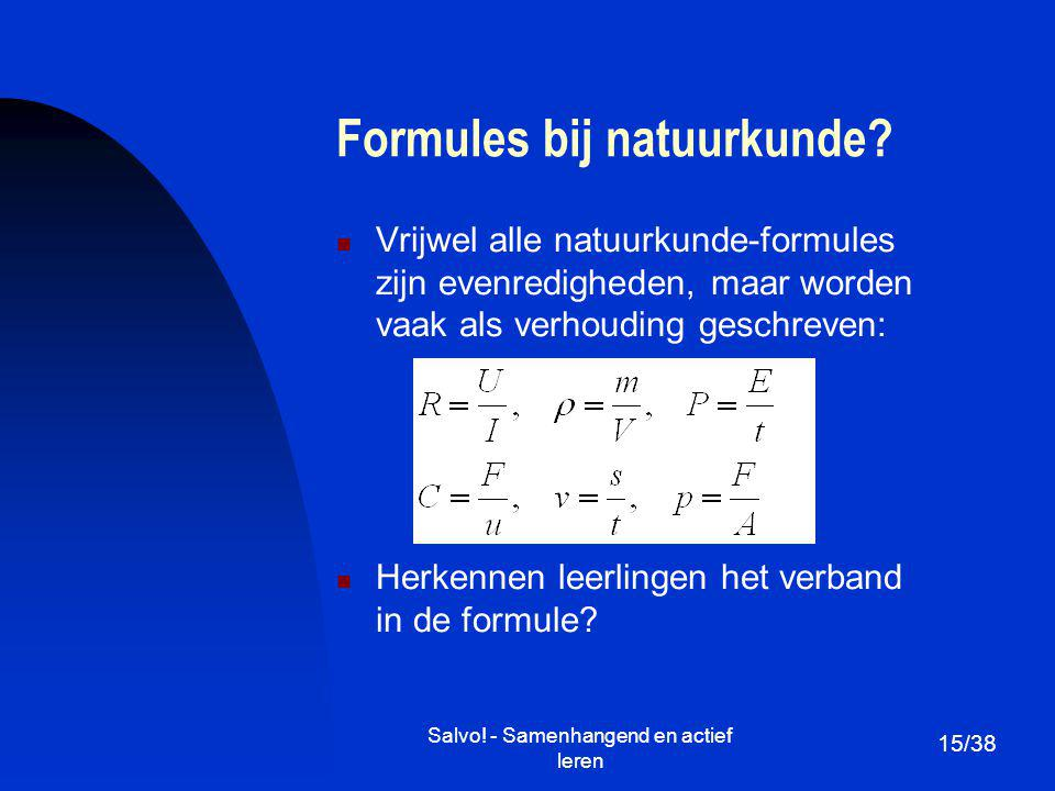 Formules bij natuurkunde