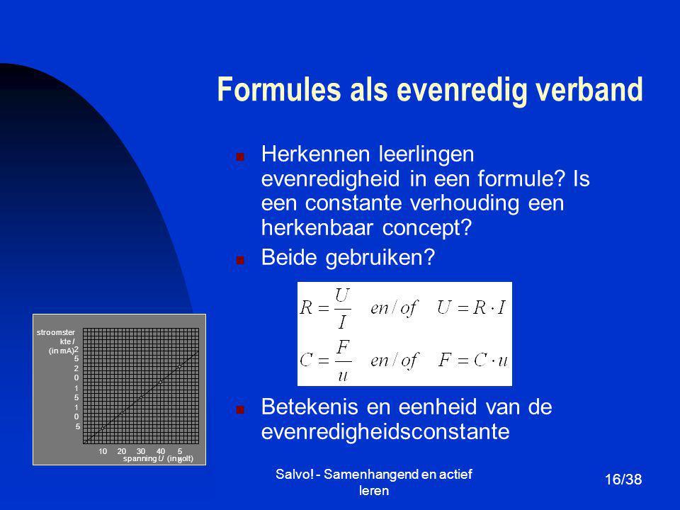 Formules als evenredig verband