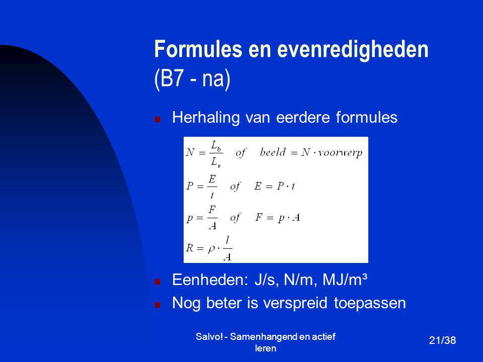 Formules en evenredigheden (B7 - na)