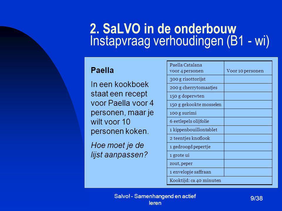 2. SaLVO in de onderbouw Instapvraag verhoudingen (B1 - wi)