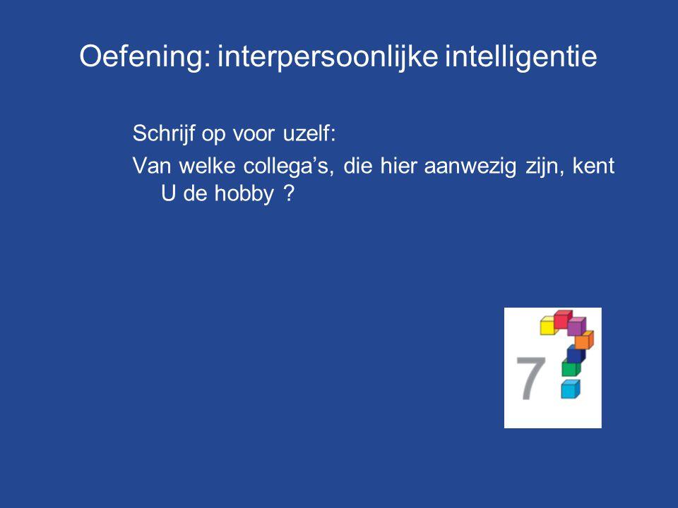 Oefening: interpersoonlijke intelligentie