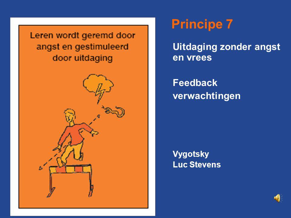 Principe 7 Uitdaging zonder angst en vrees Feedback verwachtingen
