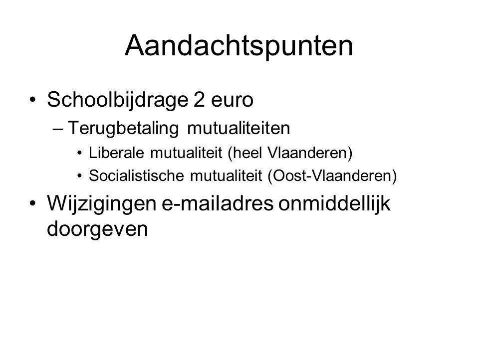 Aandachtspunten Schoolbijdrage 2 euro