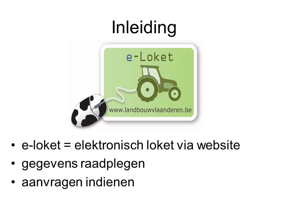 Inleiding e-loket = elektronisch loket via website gegevens raadplegen