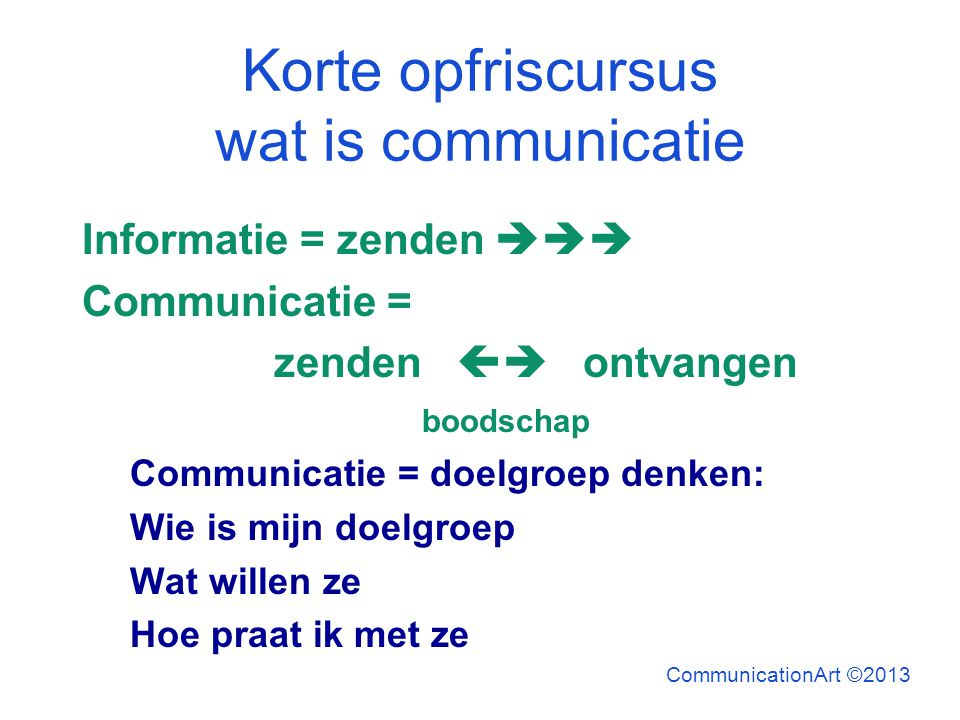 Korte opfriscursus wat is communicatie