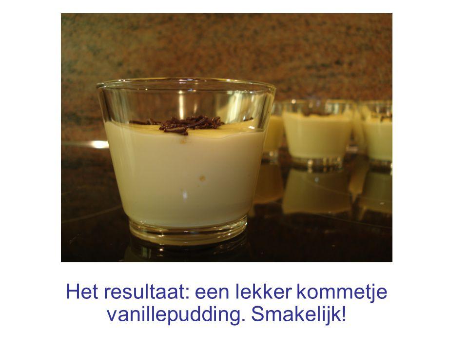 Het resultaat: een lekker kommetje vanillepudding. Smakelijk!