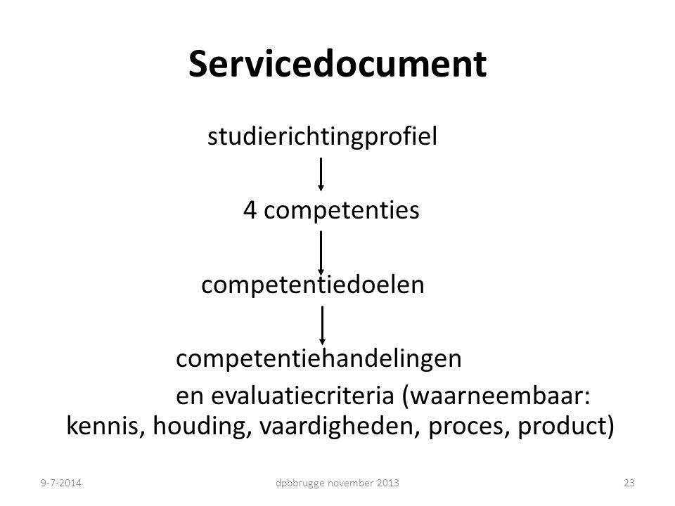 Servicedocument studierichtingprofiel 4 competenties competentiedoelen