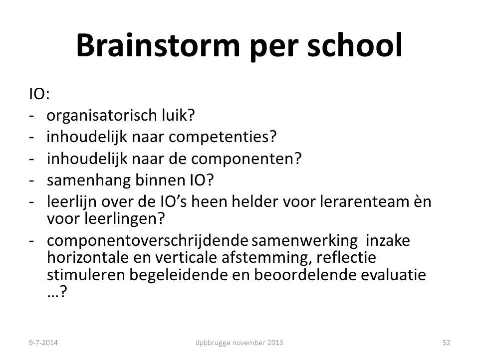 Brainstorm per school IO: - organisatorisch luik