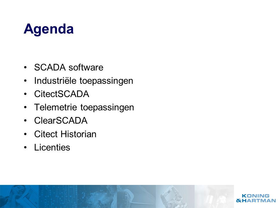 Agenda SCADA software Industriële toepassingen CitectSCADA