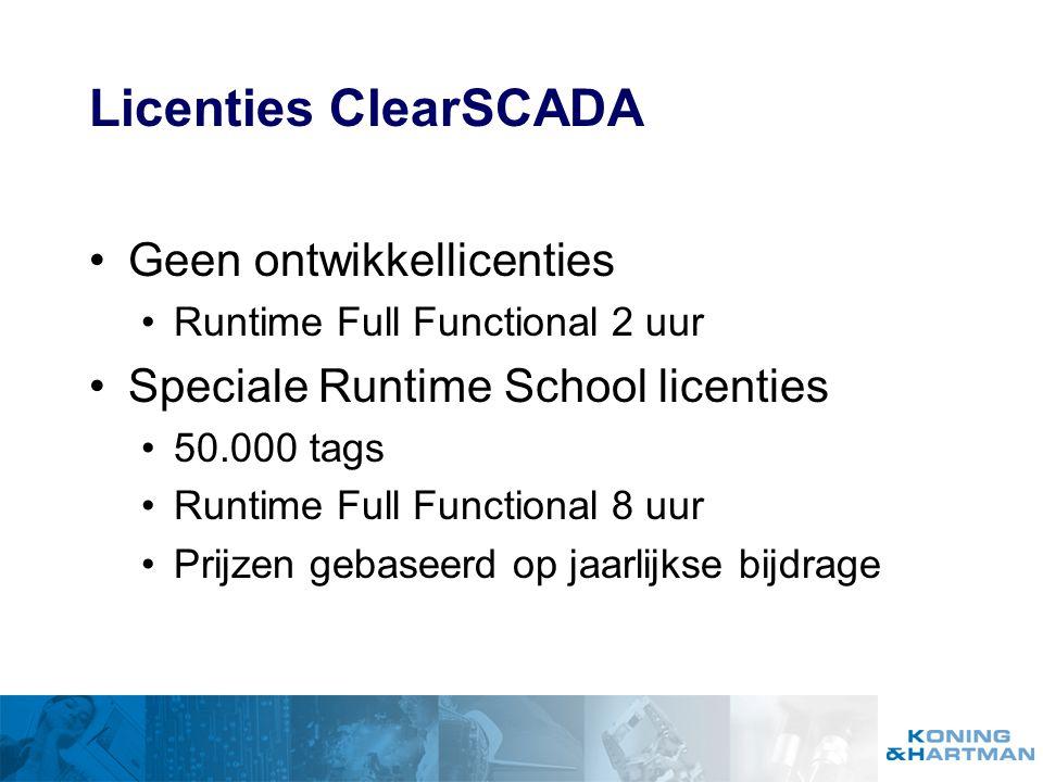 Licenties ClearSCADA Geen ontwikkellicenties