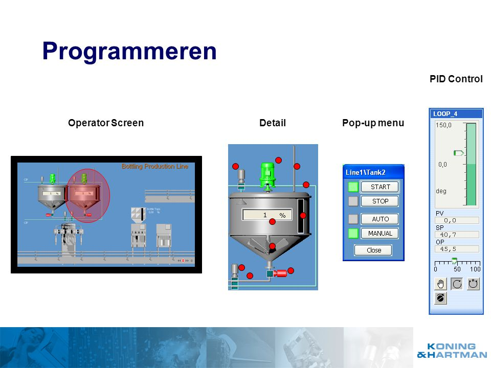 Programmeren PID Control Operator Screen Detail Pop-up menu