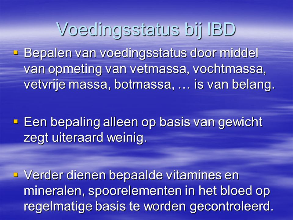 Voedingsstatus bij IBD