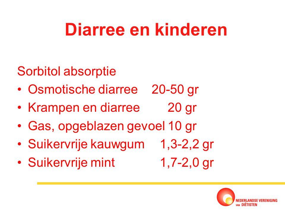 Diarree en kinderen Sorbitol absorptie Osmotische diarree 20-50 gr