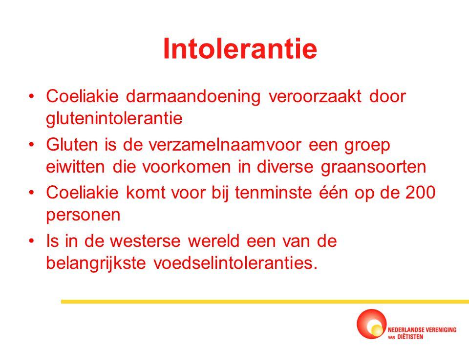Intolerantie Coeliakie darmaandoening veroorzaakt door glutenintolerantie.