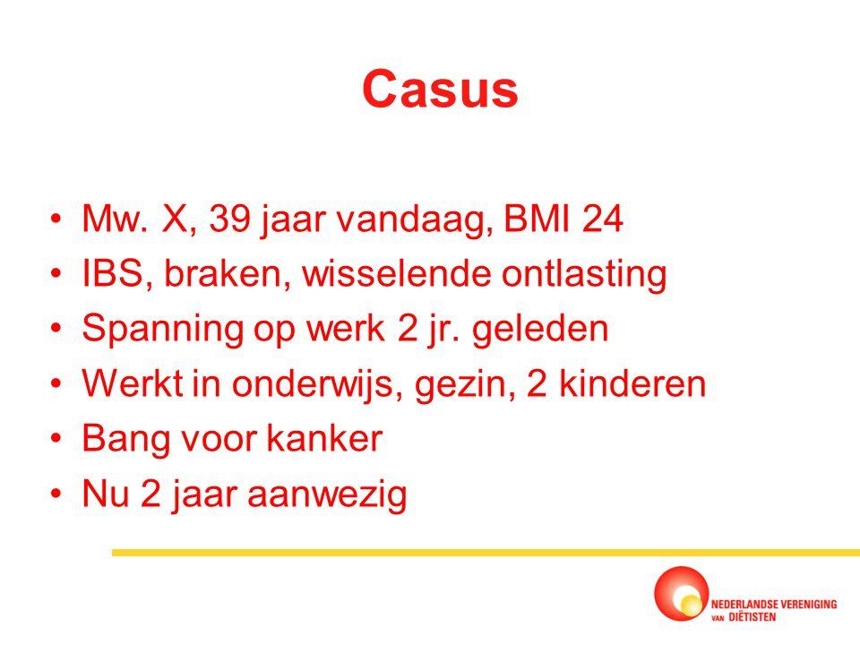 Casus Mw. X, 39 jaar vandaag, BMI 24