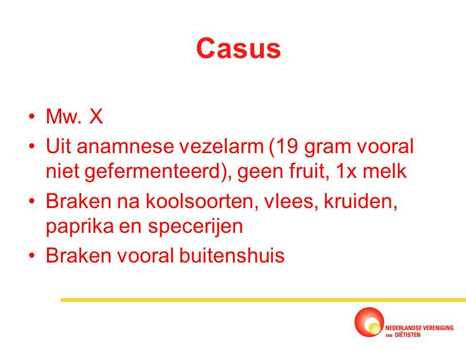 Casus Mw. X. Uit anamnese vezelarm (19 gram vooral niet gefermenteerd), geen fruit, 1x melk.
