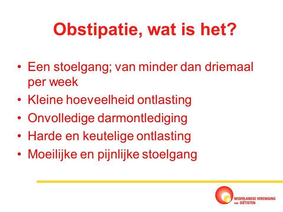 Obstipatie, wat is het Een stoelgang; van minder dan driemaal per week. Kleine hoeveelheid ontlasting.
