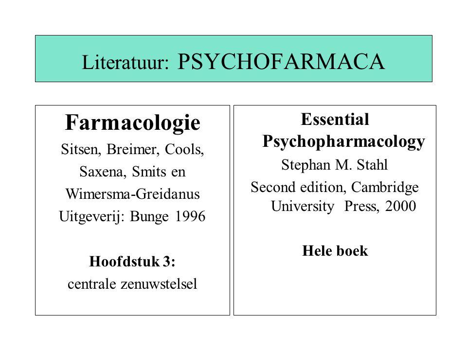 Literatuur: PSYCHOFARMACA