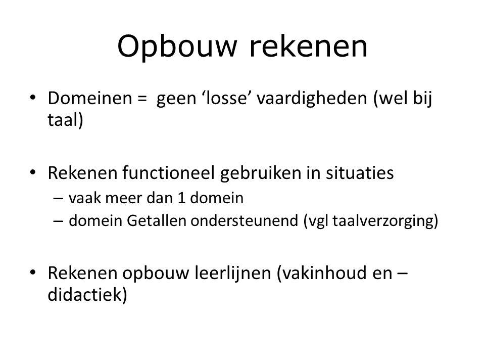 Opbouw rekenen Domeinen = geen 'losse' vaardigheden (wel bij taal)