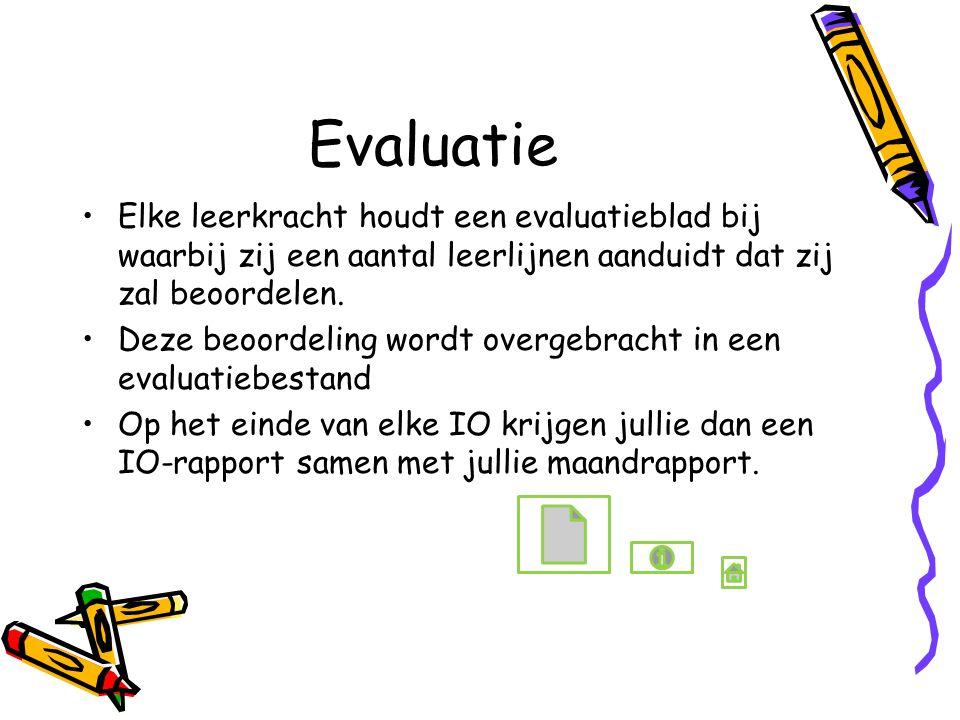Evaluatie Elke leerkracht houdt een evaluatieblad bij waarbij zij een aantal leerlijnen aanduidt dat zij zal beoordelen.