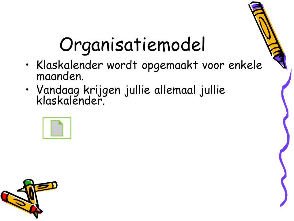 Organisatiemodel Klaskalender wordt opgemaakt voor enkele maanden.