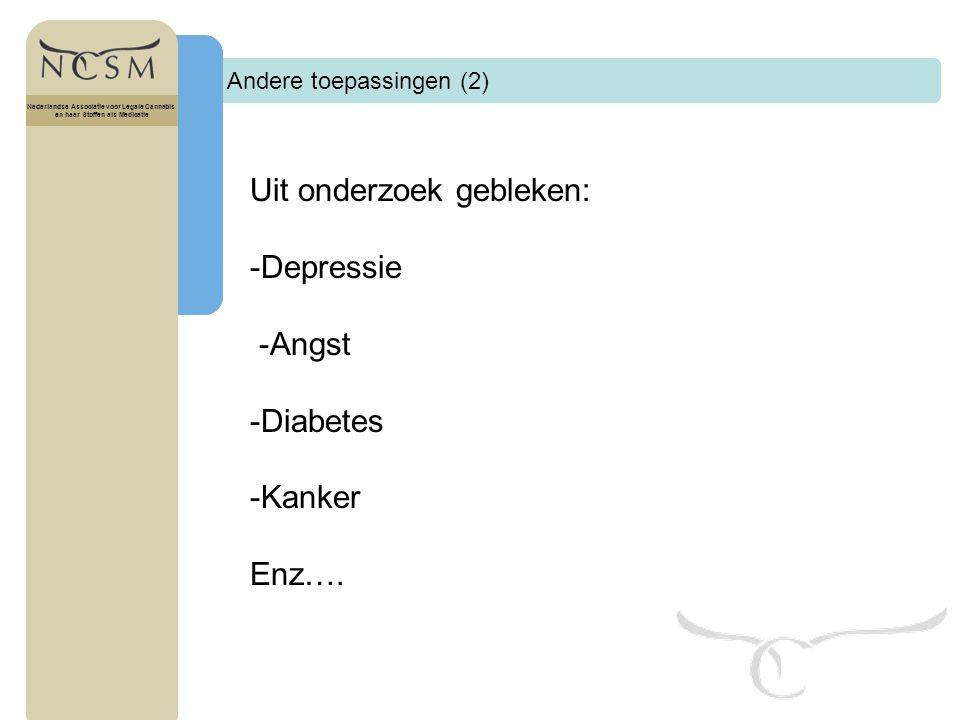 Uit onderzoek gebleken: -Depressie -Angst -Diabetes -Kanker Enz….