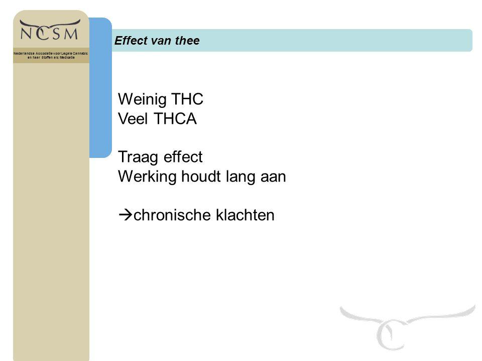 Weinig THC Veel THCA Traag effect Werking houdt lang aan