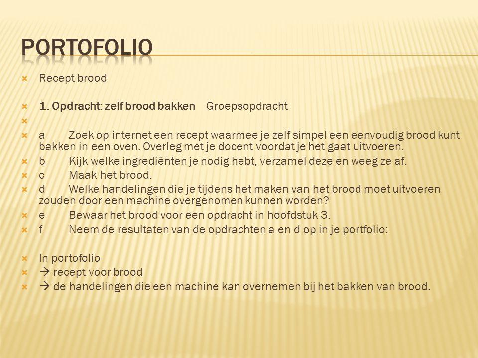 portofolio Recept brood 1. Opdracht: zelf brood bakken Groepsopdracht