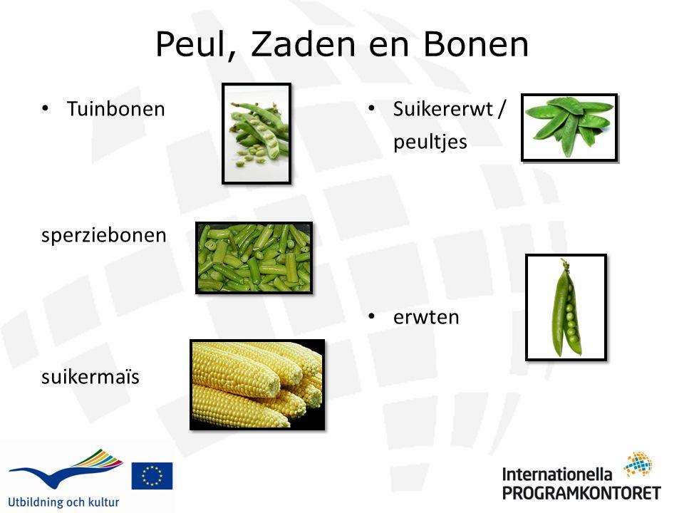 Peul, Zaden en Bonen Tuinbonen sperziebonen suikermaïs Suikererwt /