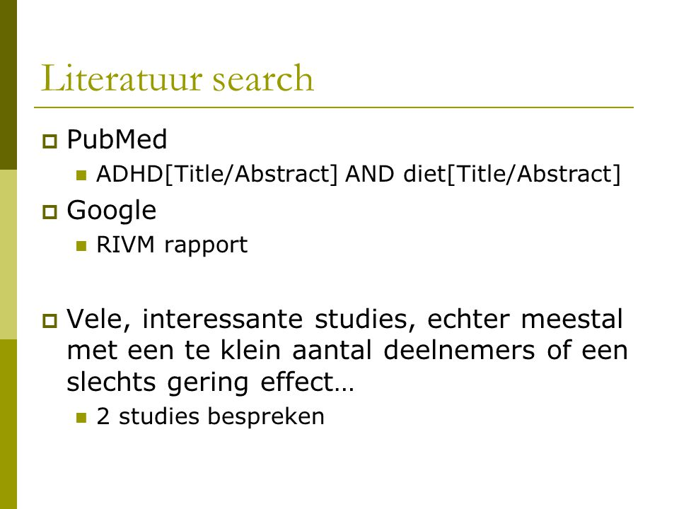 Literatuur search PubMed Google