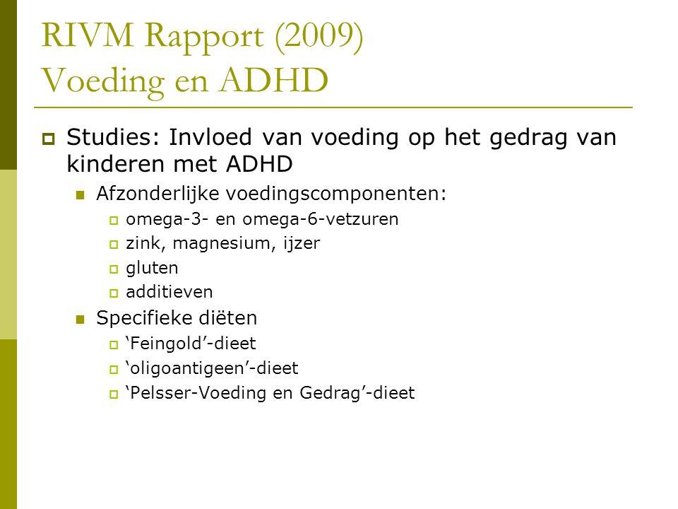 RIVM Rapport (2009) Voeding en ADHD