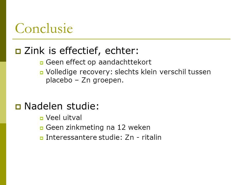 Conclusie Zink is effectief, echter: Nadelen studie: