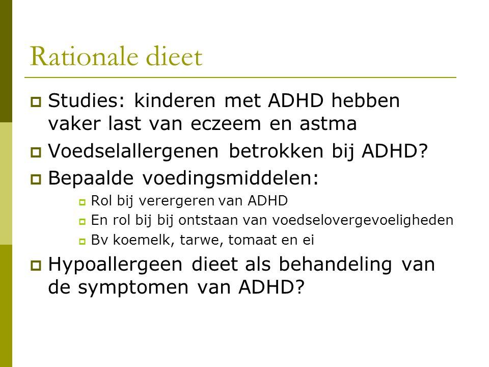 Rationale dieet Studies: kinderen met ADHD hebben vaker last van eczeem en astma. Voedselallergenen betrokken bij ADHD